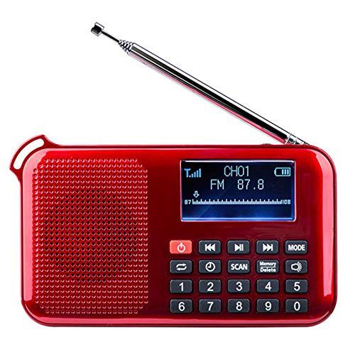 Lhlbgdz Mini Radio FM portátil Compatible con Tarjeta AUX TF Salida de Auriculares U-Disk Reproducción de música Reproductor MP3 Carga Solar Iluminación LED Altavoz USB,Rojo