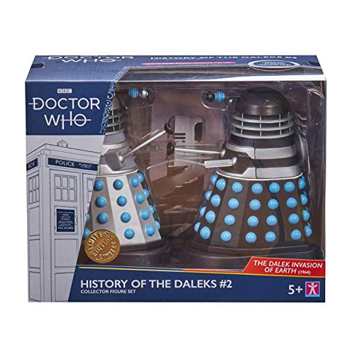 Character Options Doctor Who History of The Daleks #2 – The Dalek Invasion of Earth Collector Set – Figuras de acción Dalek de la temporada 2 – Classic Doctor Who Merchandising 14 cm