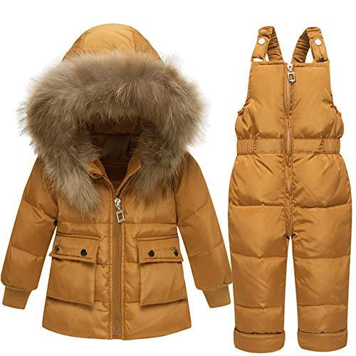 Jxth Unisex Kinder Winter Outfit Set Winter warme Zweiteilige Puffer Daunenjacke mit Snow ski Latzhose für Baby Jungen mädchen Schneeanzug mit...