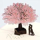 [Happypop]桜桜 3D ポップアップカード,記念日,母の日,誕生日,クリスマス,新年,バレンタインデー,結婚式,卒業,祝賀状,ロマンチックな挨拶状