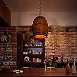 Retro Wine Barrel Wood Hanging Ceiling Lamp Lighting Fixtures Rustic Restaurant Cafe Kitchen Bar Light Crafts Pendant Nostalgic Cafe Country Antique Chandelier for Chritsmas Eve New Year Decor
