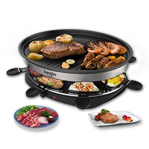 Raclette Grill mit Antihaftbeschichtung Thermostat 8 Pfännchen, Raclette für 8 Personen, 1500 W