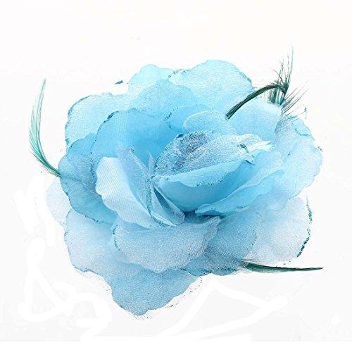 SODIAL(R) Feder Organza Rosen Blau Haarband Haargummi Haarblume