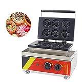 CGOLDENWALL NP-539 Máquina de Donuts Comercial Antiadherente de Teflón 1.65kW Donutera de Acero Inoxidable con Termostato Regulable - 6pcs Donas - 72 * 72 * 12mm