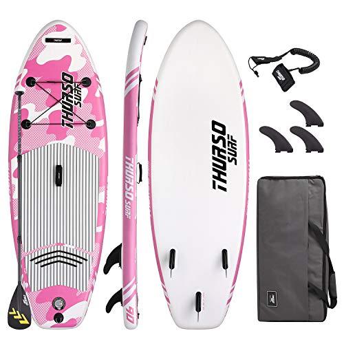 THURSO SURF Prodigy Niña/Niño/Junior 228 cm tabla Paddle Surf Hinchable de pie para niños Junior es una tabla de remo All-Around para todos los palistas junior de palanca de hasta 75 kg. El paquete incluye 1 SUP Prodigy inflable para niños, 1 paleta ...