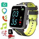 Niños Musica Smartwatch Phone, Reloj Inteligente MP3 con Localizador GPS Chat de Voz SOS Cámara Despertador FM Linterna Relojes para Niños Niñas 4-15 años de Edad Compatible con iOS Android, Negro