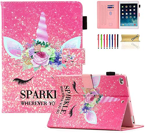 Dteck iPad 6th Gen Case, iPad 5th Gen Case, Slim PU Leather Pencil Holder Smart Cover Auto Sleep Wake Folio Stand Shockproof Case Cover for Apple iPad 9.7' 2018/2017, iPad Air 1 2, Sparkle Unicorn