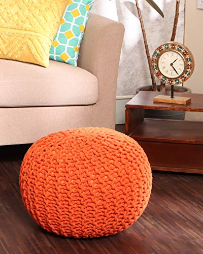 REDEARTH Round Pouf Ottoman -Poof Pouffe Accent Chair Circular Seat Footrest for Living Room, Bedroom, Nursery, kidsroom, Patio, Gym; 100% Cotton (20x20x14; Burnt Orange)