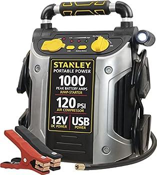 STANLEY J5C09 Portable Power Station Jump Starter  1000 Peak/500 Instant Amps- 120 PSI Air Compressor- USB Port- Battery Clamps