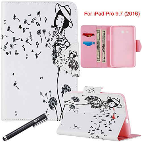 """Galaxy Tab 4 7.0 Case, Newshine Magnetic Closure Slim-Fit Lightweight Stand Case with Card/Money Slots for Samsung Galaxy Tab 4 7.0"""" (SM-T230 /T231/ T235) Tablet - Girl&Flute"""