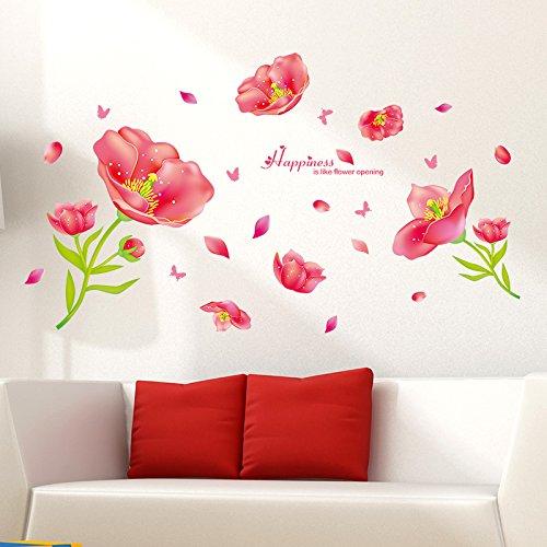 Wandaufkleber Wandtattoo Wohnzimmerverzieren Sie Warmes Rosa Jadeschönheits-Blumenwandaufkleber Selbstbild
