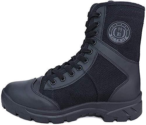 LUDEY Stivali Militari Cerniera Uomo,Stivali da Combattimento High-Top Scarpe da Escursionismo Scarpe da Lavoro SN-307 B-Nero 43 EU
