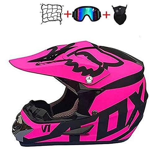 4Pcs Kids Bike Helmet Set,Unisex Off Road Quad Motorcycle Cross Helmet Youth and Adult Motocross Helmet Set with Gloves/Goggles/Mask/Bungy Net