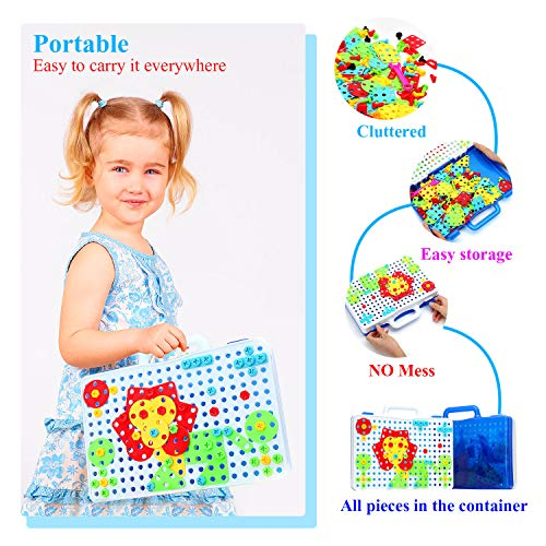 237 Pieces Electric DIY Drill Educational Set, STEM Learning Toys, 3D Construction Engineering Building Blocks for Boys and Girls Ages 3 4 5 6 7 8 9 10 Year Old, Creative Games and Fun