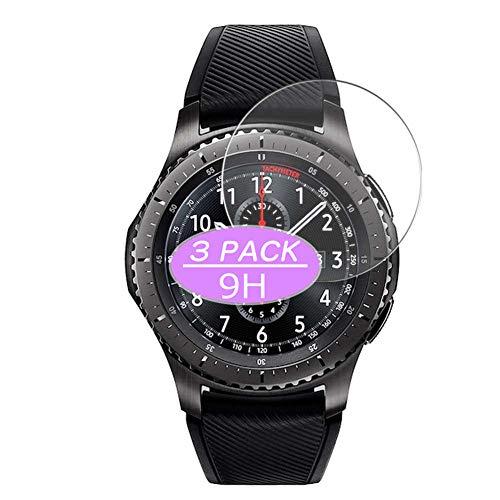 VacFun 3 Piezas Vidrio Templado Protector de Pantalla, compatible con Samsung Galaxy Gear S3, 9H Cristal Screen Protector Protectora Reloj Inteligente NEW Version