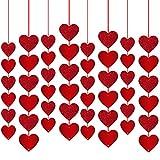 Rorchio Guirnaldas de corazón rojo, Decoración de San Valentín, adorno de cortina para fiesta de aniversario de boda y compromiso (48 piezas)