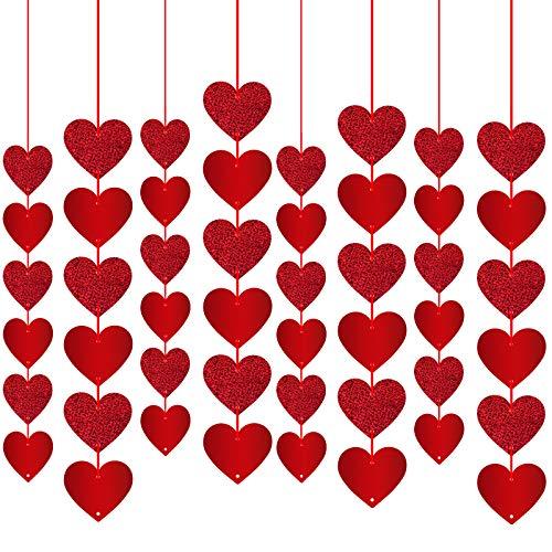 Rorchio Ghirlande Cuore Rosso, Decorazione di San Valentino, Ornamento per Tende per Feste di Anniversario di Matrimonio e Fidanzamento (48 Pezzi)