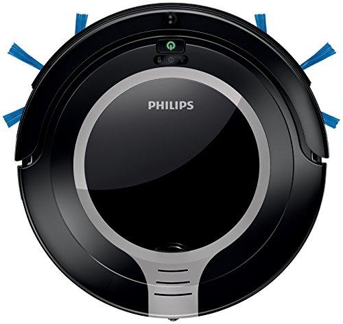 Philips SmartPro Robot Aspirador, diseño súper Compacto 6 cm, Sistema de Limpieza de 2 Fases, 0.7 W, 0.25 litros, 58 Decibelios, Plateado metálico y Negro Intenso