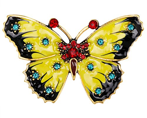 FENGJI Crystal Rhinestone Butterfly Brooches for Women Small Vintage Inspect Clothing Decoration Jewellery Brooch Pin Butterfly A
