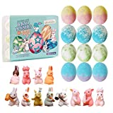 Easter Egg Bath Bomb Gift Set with Bunny Inside, 12 Pack Easter Egg Bath Bombs with Toy for Easter Hunt, Easter Basket Stuffers, Easter Bath Bomb Set with Gift Card.