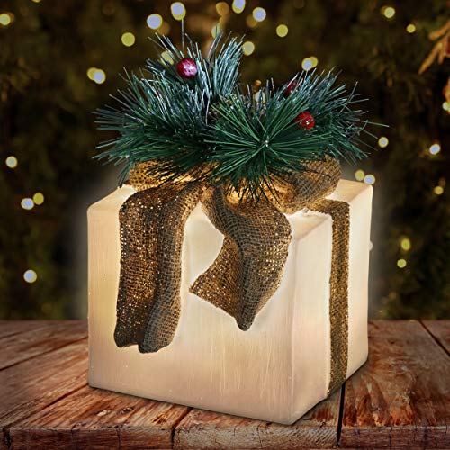 Exhart Hand Painted Boxes w/White LED Light – Light-Up Gift Boxes Christmas Decor – Outdoor-Indoor Holiday Decoration - Durable Weather-Resistant Resin Yard Decoration, 6.0 x 5.5 x 6.5
