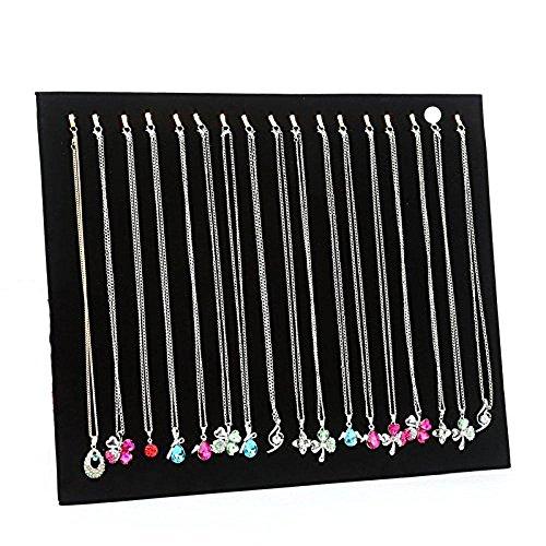 Serdokntbig Black Velvet 17 Hook Necklace Jewelry Tray Display Organizer (17 Hook Necklace Display)