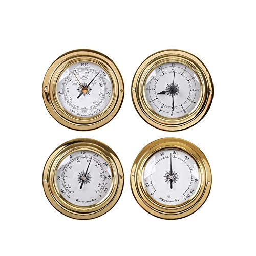 Siunwdiy 4Pcs Thermometer Hygrometer Kit Wand Befestigte Wetterstation Barometer Uhr Set Mit Messing Gehäuse Kunststoff-Bodenwanne,Messing