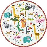 vilber Kids. Alfombra Vinilo Infantil Animales Selva.3330 DU-10. Redonda. Diámetro 97 cm