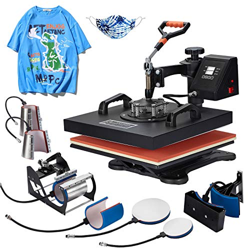 Homedex 15X15 Inch Heat Press 8 in 1 Heat Press Machine with Slide Out Drawer,Digital Multifunctional Swing Away Heat Press,Heat Transfer Sublimation Machine for T-Shirt Mugs Hat Plate Cap …