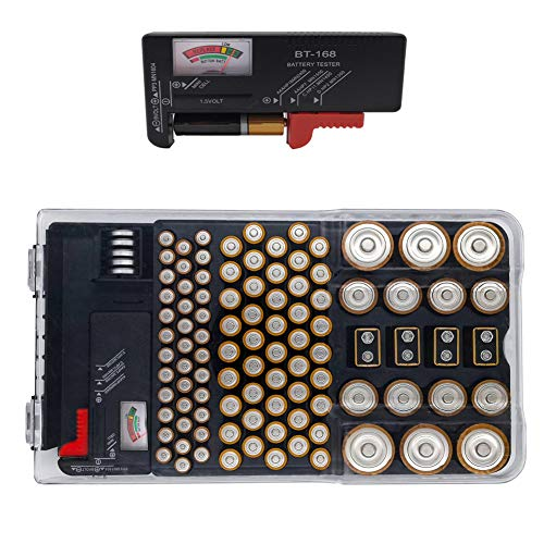 Battery Organizer Storage Case with Energy Tester Holds Batteies for AA, AAA, 9V, C, D and Button Cells