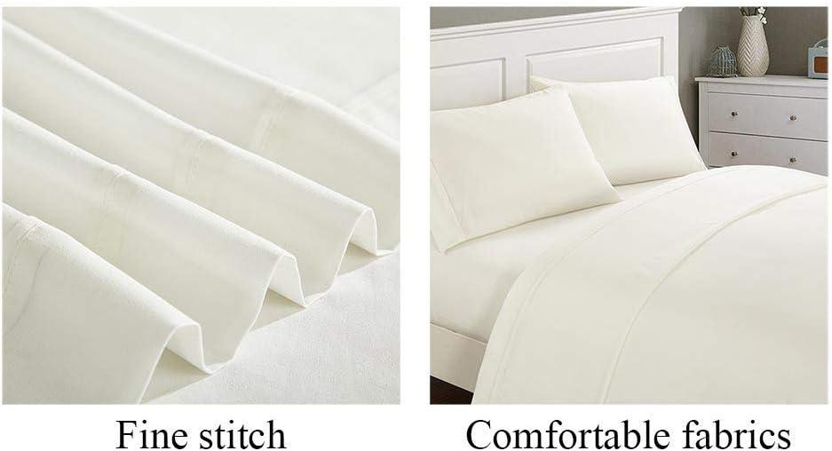Couleur Unie Lit Double 4 Set Couvre-Lit en Coton Taie d'oreiller Simple Streak Hôtel Couvre-Lit Décoration De La Maison Beige