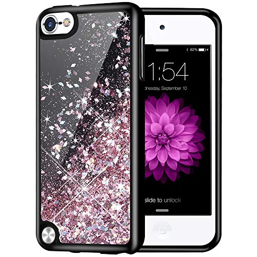 iPod Touch 5 6 7 Case, Caka iPod Touch 6th Generation Glitter Case Luxury Fashion Bling Flowing Liquid Floating Sparkle Girly Girls Women Soft TPU Case for iPod Touch 5 6 7 Generation (Rose Gold)