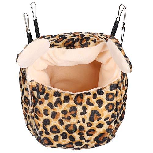 Atyhao Cama para hámster, Nido de Cama para Dormir cálido de Invierno Grueso para Sugar Glider Hamster Jerbo Rat Ratón Ardilla (Leopardo)