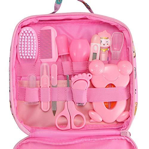 ONEVER 13 Unids Bolsa de Cuidado de la Salud Bebé Higiene Diaria de Uña Clipper Tijeras Cepillo Peine Peine Cuidado de Manicura (pink)