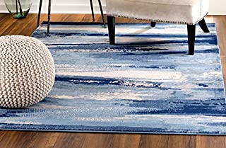 MADISON COLLECTION 408 Modern Abstract Blue Area Rug Clearance Soft and Durable Pile. Size Option (5' x 7'), 5' x 7'