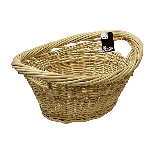 JVL Willow All Purpose Laundry Basket with Inset Handles, Wood, 58 x 43 x 25 cm