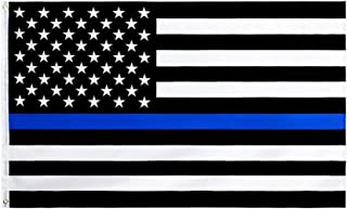 Yafeco Thin Blue Line USA Flag 3x5 ft - Black White and Blue American Police Flag Honoring Law Enforcement Officers- Vivid Color and UV Fade Resistant