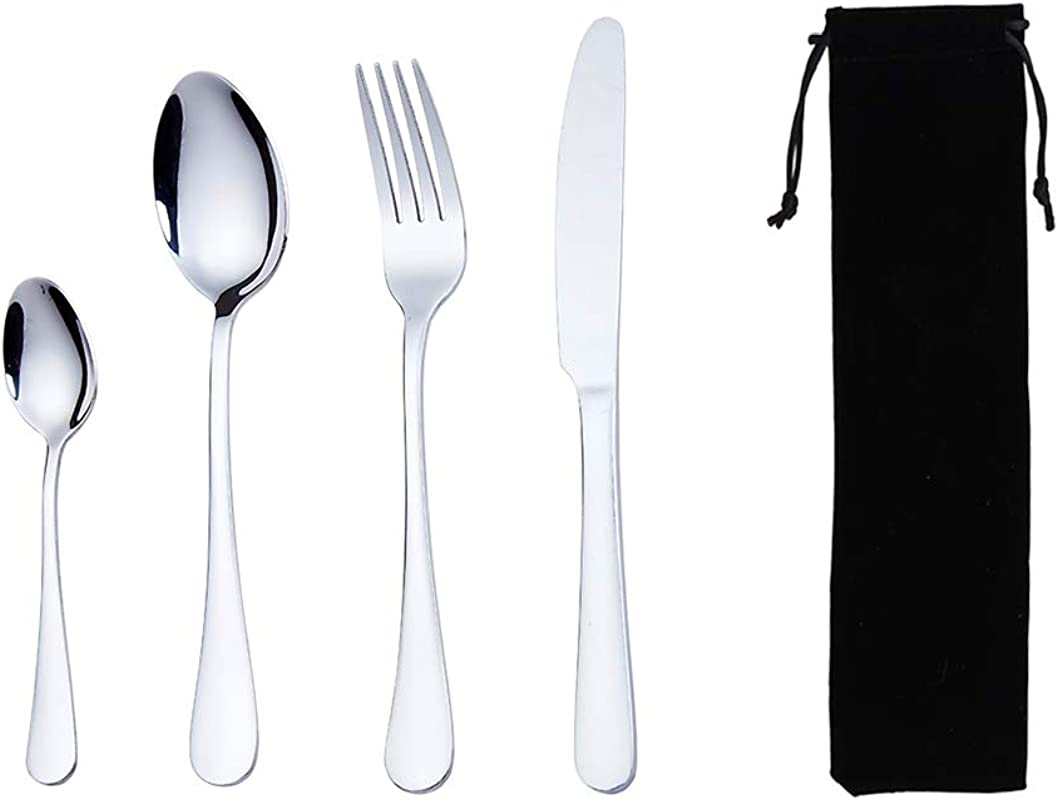 Flatware Set Ccinny Cutlery Set Stainless Steel Utensil Set To Go Tableware Silverware Dinnerware Set For 1 With Carrying Bag Include Knife Fork Spoon Teaspoon