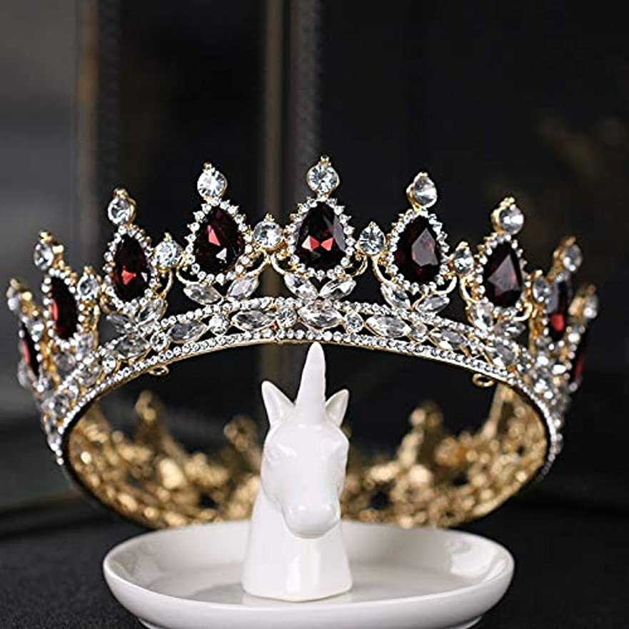 分析大惨事パーティー豪華でレトロな女王の王冠 ティアラ 卒業式 結婚式 王冠 高級 ヨーロピアンクラウン ゴールドクラウン バーガンディ 大きなロールプレイングヘアアクセサリー