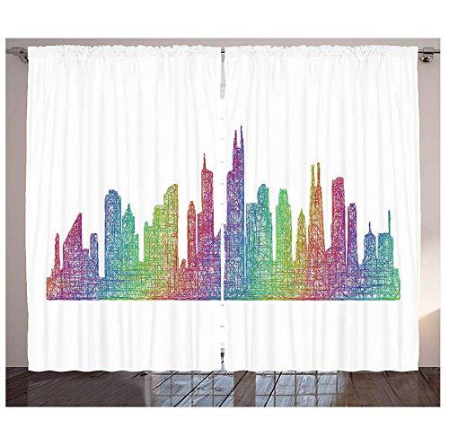 MUXIAND Chicago Skyline Cortinas de Cocina Escena Abstracta de la Ciudad en Tonos arcoíris Mixtos Panel de decoración de Ventana Kitsch Ingenioso destacado Moderno