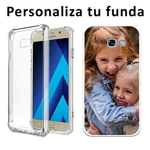 Mookase Funda Carcasa Personalizada Reforzada para tu móvil Samsung Galaxy con Foto, Imagen o Texto. Flexible, Bordes Transparentes (A5 2017, Reforzada)