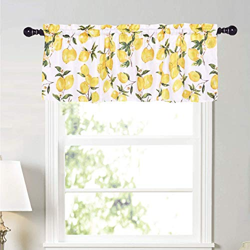 Molaxhome Lemon Valance for Windows 52x18 inch, Tie Up Printed Valances Rod Pocket 1 Panel for Kitchen Bathroom Bedroom (Yellow Lemon, Cloth)