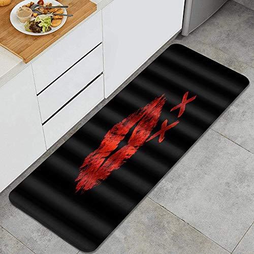 VAMIX Alfombra de Cocina,Cool Sexy Red Lips Kiss Art,tapete Decorativo para Piso de Cocina con Respaldo Antideslizante, 47'x17'