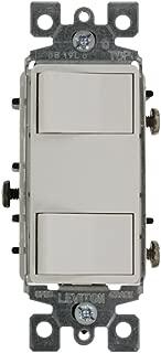 Leviton 1754-ILW 15 Amp, 120 Volt, Individual Switches, 2 Switch Combination, Illuminated Dual Rocker, White