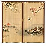 Cortina de bambú para Puerta Cortina para el hogar Puerta corrediza Plegable Puerta de Hotel Simple Sala de Estar Cortina de partición Sombreado de Tienda Puerta corrediza Enrollable de bambú Puerta