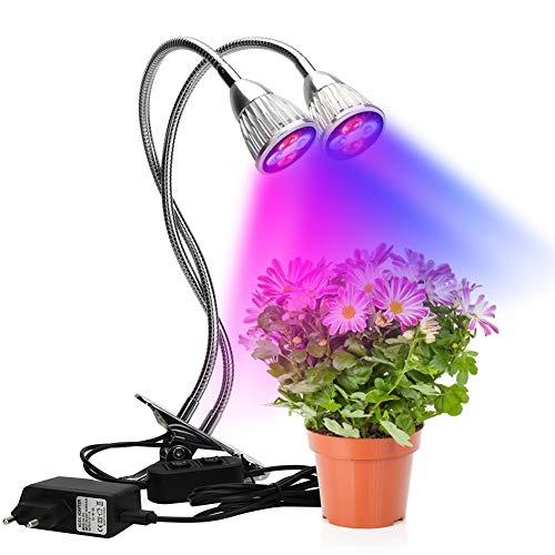 Dual-Head-installatie groeien lichten, plant groeien lamp 10W Dual-Head-instelbare LED Goosenhoek groeiende lampen planten groeien licht Double Switch broeikas lamp AC 85-265V