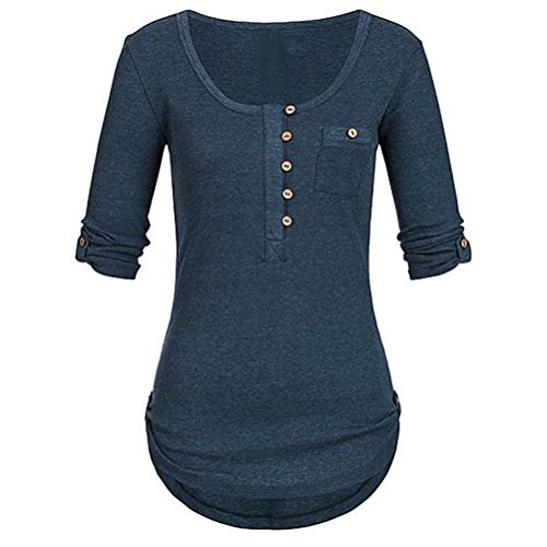 iYmitz Tunika Oberteil Damen Langarm Weihnachten Blusen Elegante Frauen Solide Langarm Knopf Bluse Beiläufig Täglich Pullover Tops Shirt Mit Taschen