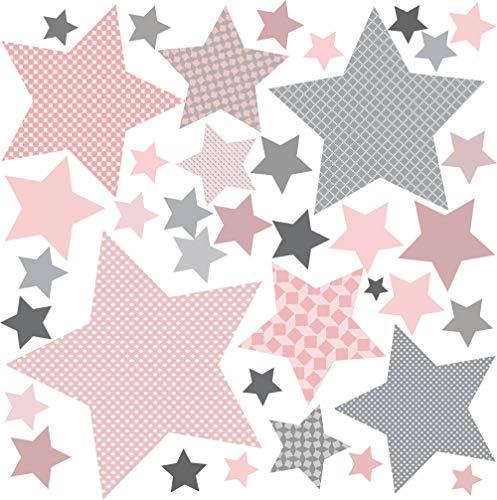 Wand Deko Mädchenzimmer greenluup Öko Wandsticker Wandtattoo Wandaufkleber 80 x Aufkleber Sterne Grau (Sterne Rosa) Wandsticker Kinderzimmer Mädchen Baby Zimmer Deko Mädchen