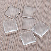 DNHCLL 20PCS 1 inch/25mm Square Time Gem Glass Patch Arc Round Transparent Glass Crystal DIY Jewelry Accessories Handmade Materials, for Cameo Pendants Photo Jewelry Necklaces.