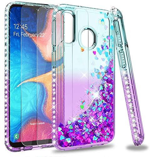 LeYi Funda Samsung Galaxy A20e Silicona Purpurina Carcasa con [2-Unidades Cristal Vidrio Templado], Transparente Cristal Bumper Gel TPU Fundas Case Cover para Movil Samsung A20e Verde/Morado